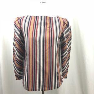 Vintage 80s Striped Pouf Secretary Shirt M
